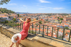 Ponto de vista do turista de Lisboa Imagem de Stock