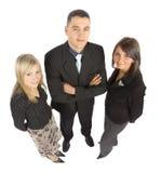 Ponto de vista elevado de três empresários fotos de stock royalty free