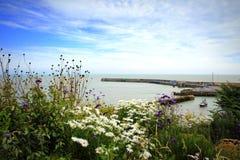 Ponto de vista litoral Kent Reino Unido do porto de Folkestone Fotos de Stock