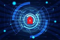 Ponto e escavação do mapa do mundo do conceito da tecnologia do sumário da segurança do Cyber ilustração do vetor