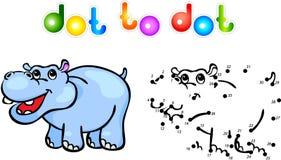 Ponto engraçado do hipopótamo dos desenhos animados a pontilhar Imagem de Stock