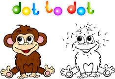 Ponto engraçado do macaco dos desenhos animados a pontilhar Fotografia de Stock