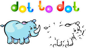 Ponto engraçado do rinoceronte dos desenhos animados a pontilhar Fotografia de Stock Royalty Free