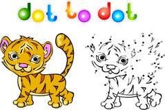Ponto engraçado do tigre dos desenhos animados a pontilhar Fotos de Stock Royalty Free