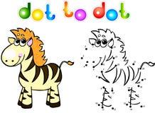 Ponto engraçado da zebra dos desenhos animados a pontilhar Fotos de Stock Royalty Free