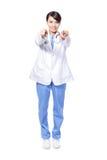 Ponto fêmea feliz do dedo do doutor a você Fotografia de Stock Royalty Free