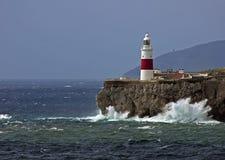 Ponto Lightho do Gibraltar-Europa Foto de Stock Royalty Free