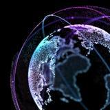Ponto, linha, superfície composta de gráficos circulares, conexão do satélite de rede global, significado internacional 3d Fotos de Stock Royalty Free