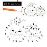 Ponto para pontilhar o jogo: abóboras de Halloween Foto de Stock Royalty Free