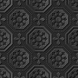 Ponto transversal do octógono de papel escuro elegante sem emenda do teste padrão 064 da arte 3D Imagem de Stock