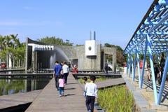 Ponton Garten-Ausstellungsgartens Xiamens des internationalen, luftgetrockneter Ziegelstein rgb Stockfotos