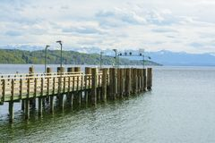 Ponton na Starnberger jeziorze Obraz Stock
