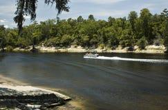 Ponton sur le fleuve de Suwannee photographie stock