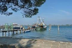 Ponton- und gruiseschiff verankert in der venetianischen Lagune, Adreatic-Meer, Italien Stockbild