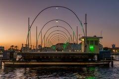 Pontonowy most podczas zmierzchu Zdjęcia Royalty Free