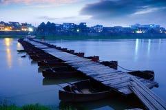 Pontoon. Boardwalk at night in remote rural China Royalty Free Stock Images