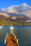 Pontoon on Annecy Lake, Haute Savoie Stock Photo