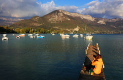 Pontoon on Annecy Lake, Haute Savoie, France Stock Photography