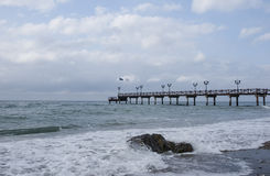 Pontoon Beach casablanca in Marbella. Jetty overlooking the beach casablanca in Marbella Royalty Free Stock Photography