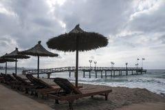 Pontoon Beach casablanca in Marbella. Jetty overlooking the beach casablanca in Marbella Stock Images