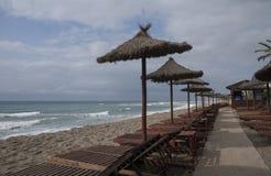 Pontoon Beach casablanca in Marbella. Jetty overlooking the beach casablanca in Marbella Stock Photo
