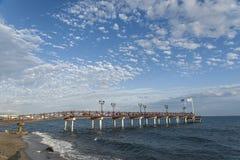 Pontoon Beach Nagueles in Marbella. Jetty overlooking the beach Nagueles in Marbella Stock Photo