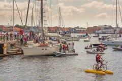 Pontoon bike in Copenhagen harbor. People greeting popular sailing boat Havana Stock Photo