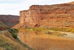 Pontoon boat in Colorado River Canyon. Landscape in Colorado River Valley  , Utah Stock Image