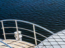 Pontoon in boat harbor Stock Images