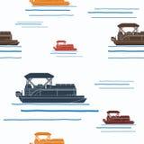 Pontoon Boat Seamless Pattern Stock Photo