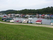 Pontoon Boats. Marina at Grayson Lake in Kentucky filled with pontoon boats Royalty Free Stock Image