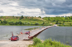 Pontoon bridge across the Oka near Old Ryazan Royalty Free Stock Photo