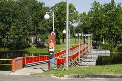 A pontoon bridge across the river Stock Photo