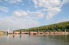 Pontoon bridge. Across the river in the summer Stock Image