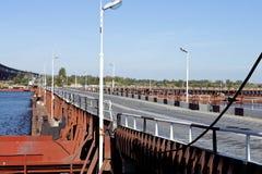 Pontoon bridge across Volga Stock Photography