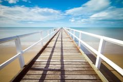 Pontoon bridge on beach Royalty Free Stock Image