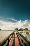 Pontoon bridge with blue sky Stock Photos