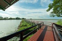 Pontoon bridge with blue sky Royalty Free Stock Images
