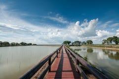 Pontoon bridge with blue sky Stock Photography