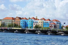 Pontoon bridge in Curacao. Another great day in the wonderful port of Curacao Royalty Free Stock Photography