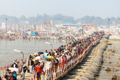 Pontoon Bridge at Kumbha Mela Royalty Free Stock Image