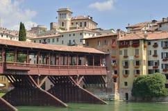 Pontoon  bridge over the Brenta river Stock Photo