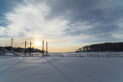 Pontoon bridge over the frozen river Stock Photography