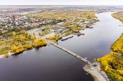 Pontoon bridge over Tura river. Tyumen. Russia Stock Photos