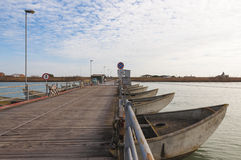 Pontoon bridge on the Po' river estuary, Italy Stock Photography