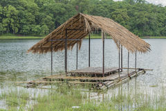 Pontoon bridge. For river tourism Royalty Free Stock Photography