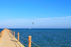 Pontoon bridge in the sea Stock Photography