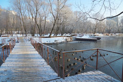 On pontoon bridge Royalty Free Stock Photos