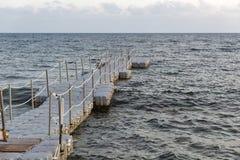 Pontoon bridge for swimming Stock Image
