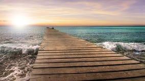 Pontoon in Caribbean sunset Royalty Free Stock Photo